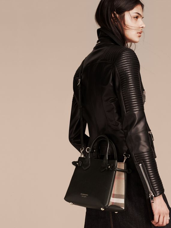 The Small Banner in Leather and House Check in Black - Women | Burberry United Kingdom - cell image 2