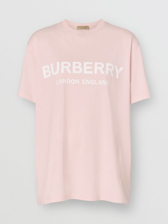 Logo Print Cotton T-shirt in Alabaster Pink