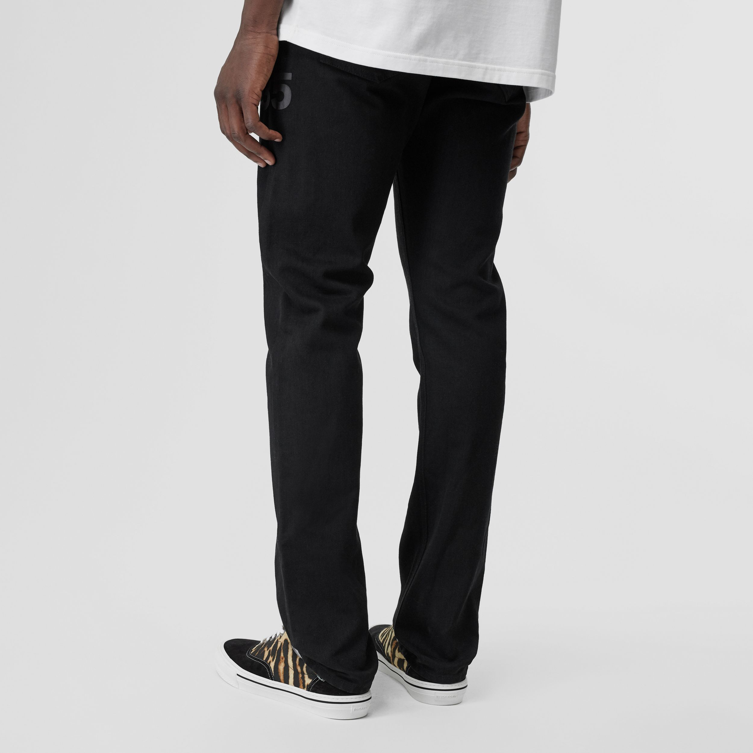 Straight Fit Logo Print Japanese Denim Jeans in Black | Burberry - 3