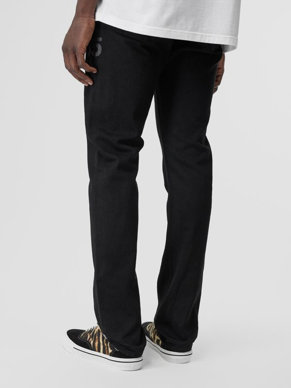 Straight Fit Logo Print Japanese Denim Jeans in Black - Men | Burberry - cell image 2