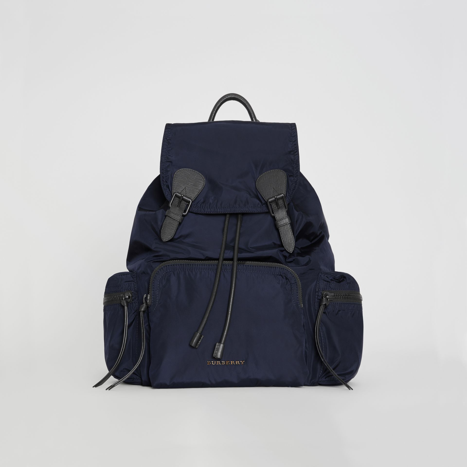The Large Rucksack in Technical Nylon and Leather in Ink Blue - Men | Burberry United Kingdom - gallery image 0