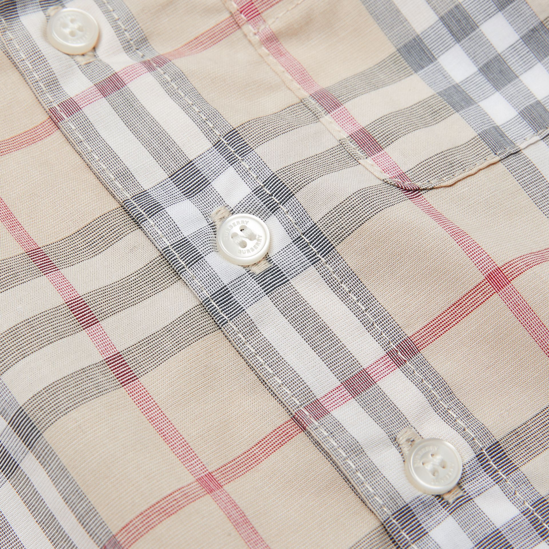 Button-down Collar Short-sleeve Check Cotton Shirt in Pale Stone - Children | Burberry - gallery image 1