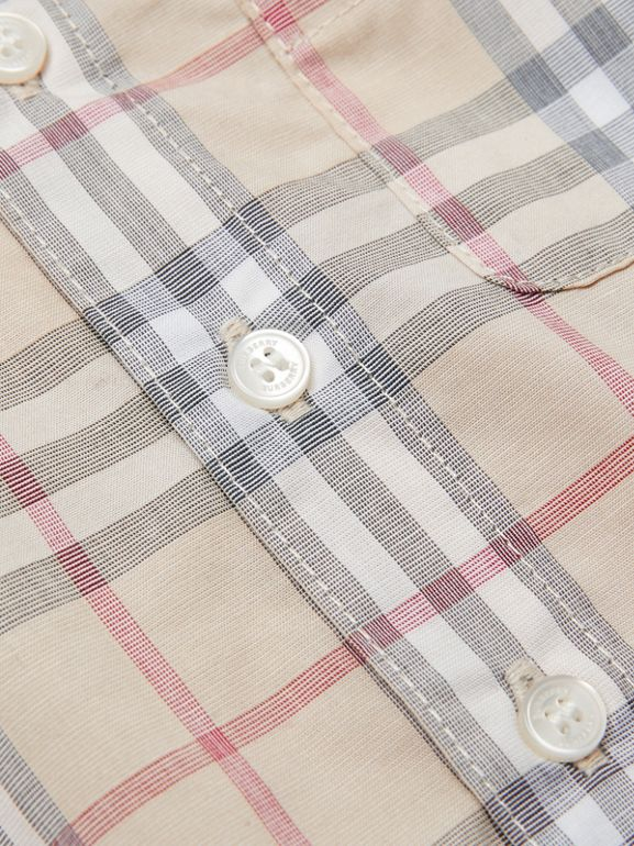 Button-down Collar Short-sleeve Check Cotton Shirt in Pale Stone - Children | Burberry Hong Kong S.A.R - cell image 1