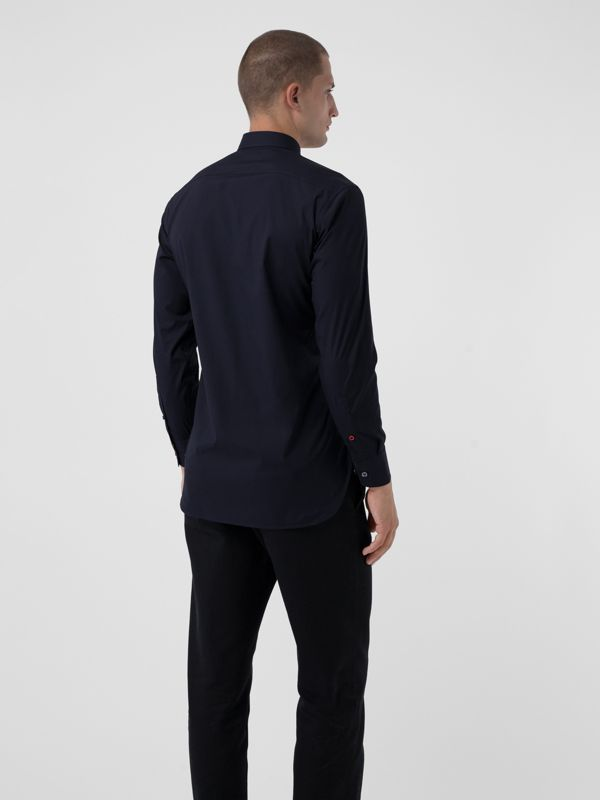 Contrast Button Stretch Cotton Shirt in Navy - Men | Burberry United Kingdom - cell image 2