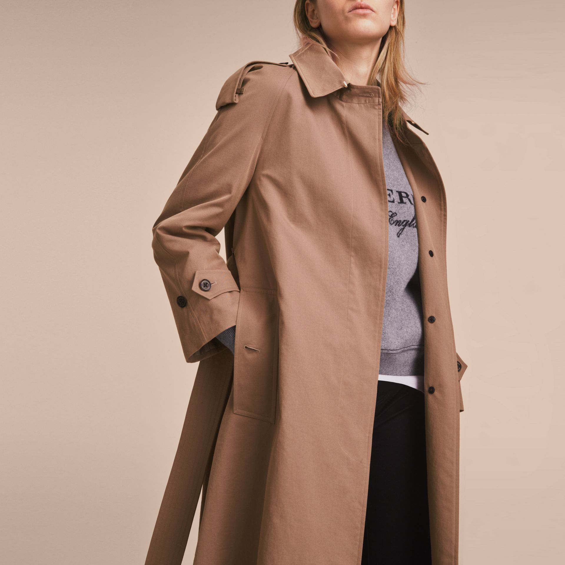 Taupe Tropical Gabardine Trench Coat - gallery image 6