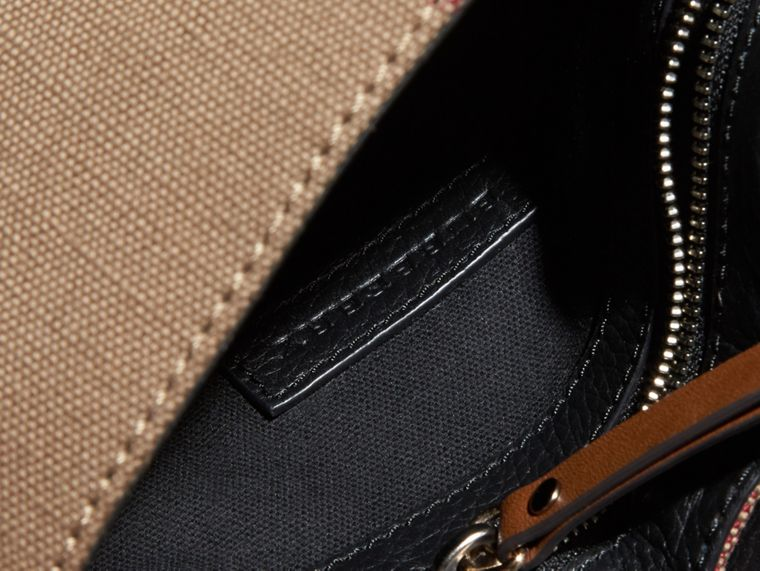 Black Canvas Check and Leather Crossbody Bag Black - cell image 4