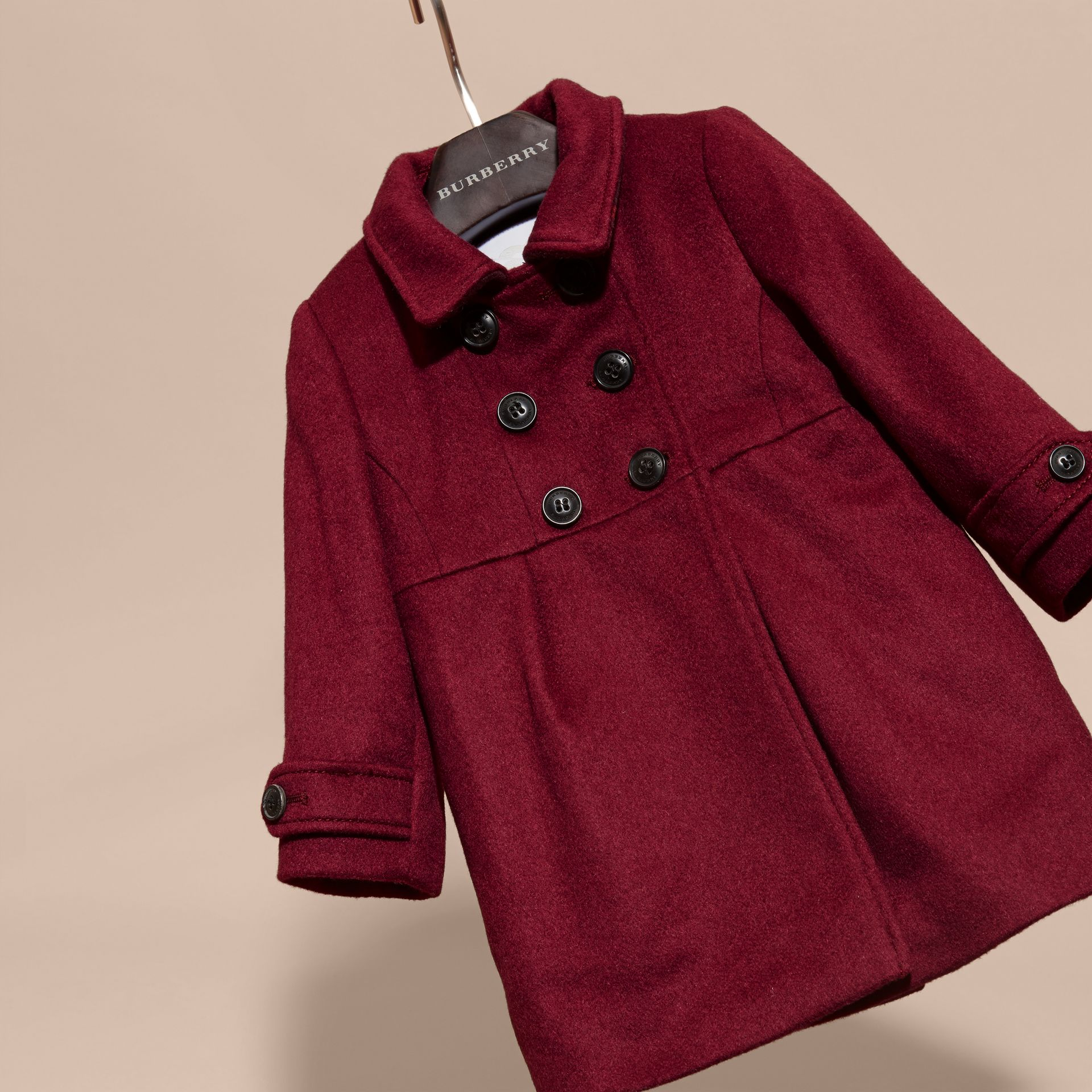 Cherry pink Tailored Cashmere Coat Cherry Pink - gallery image 3