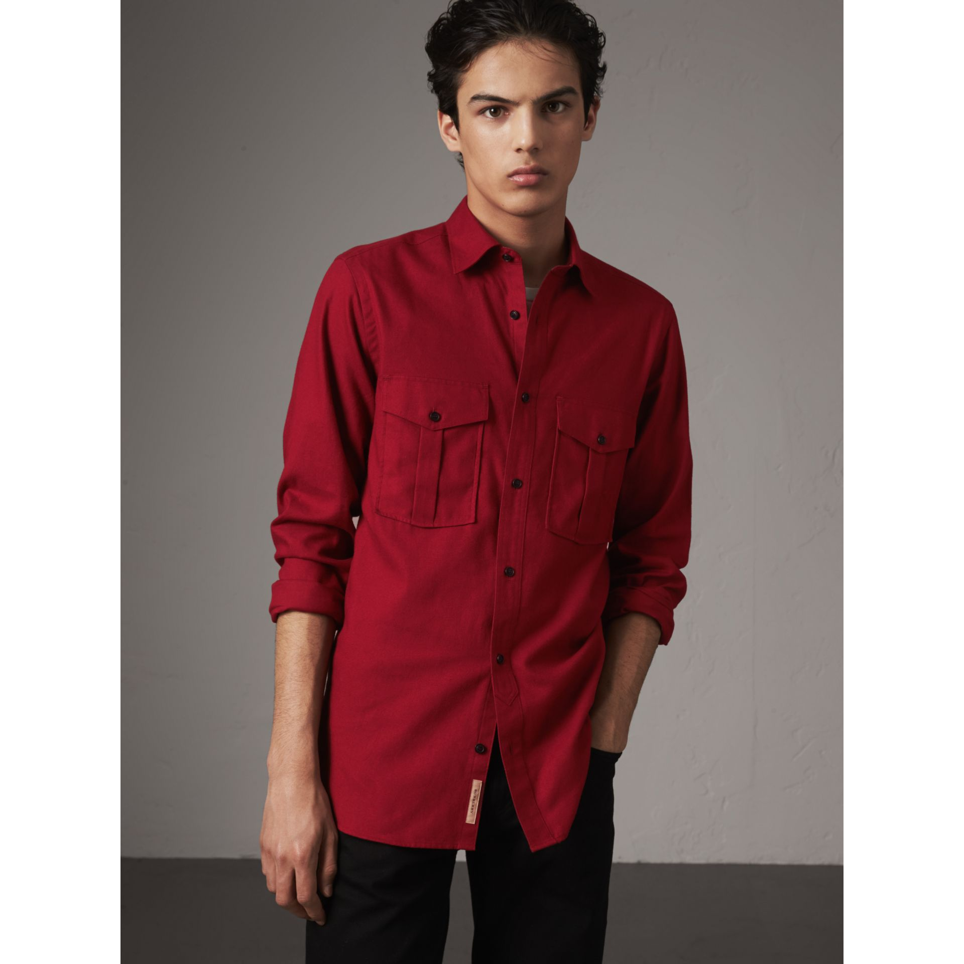 Lightweight Cotton Flannel Shirt in Crimson Red - Men | Burberry - gallery image 1