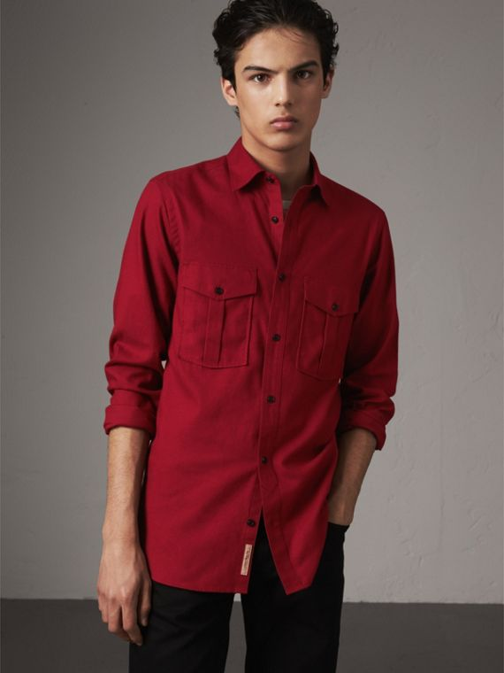 Lightweight Cotton Flannel Shirt in Crimson Red