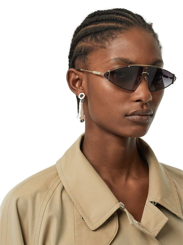 Calf Hair and Palladium-Plated Hoof Drop Earrings in Palladium/honey - Women | Burberry - cell image 2