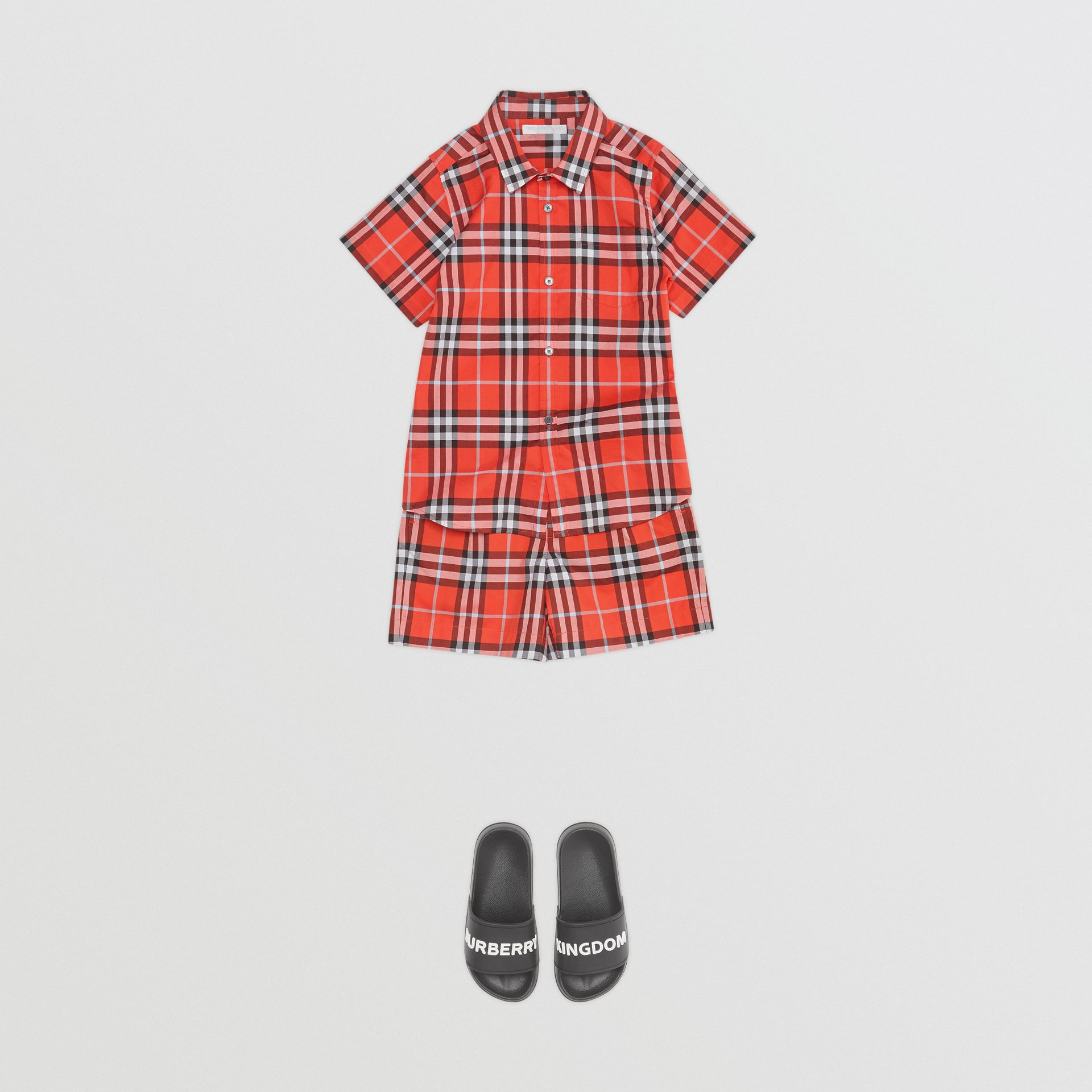 Short-sleeve Check Cotton Shirt in Orange Red | Burberry - gallery image 2