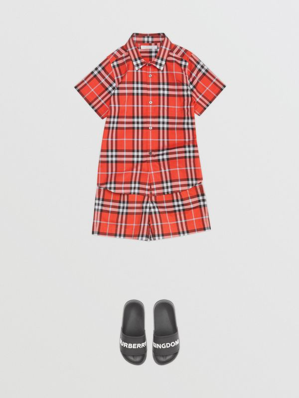 Short-sleeve Check Cotton Shirt in Orange Red | Burberry - cell image 2