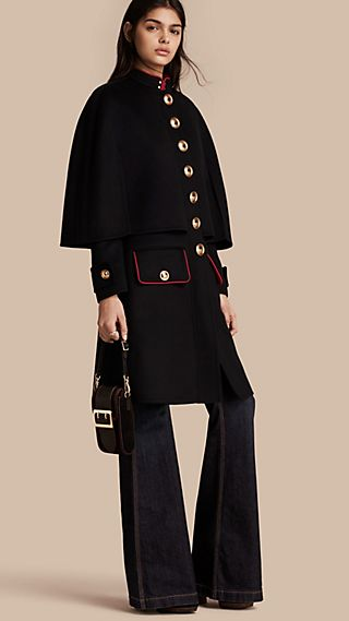 Military Detail Wool Cashmere Cape Coat