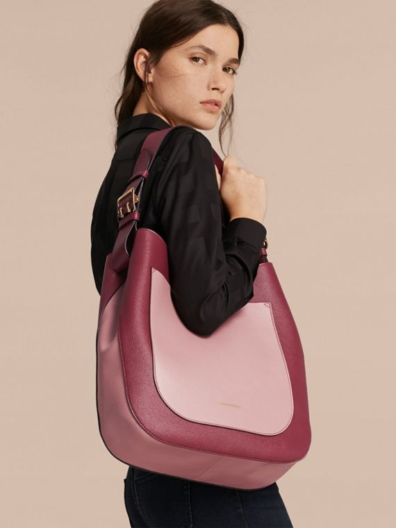 Textured Leather Shoulder Bag in Dark Plum/ Dusty Pink - cell image 2