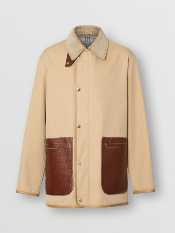Monogram Leather Detail Cotton Gabardine Jacket in Honey