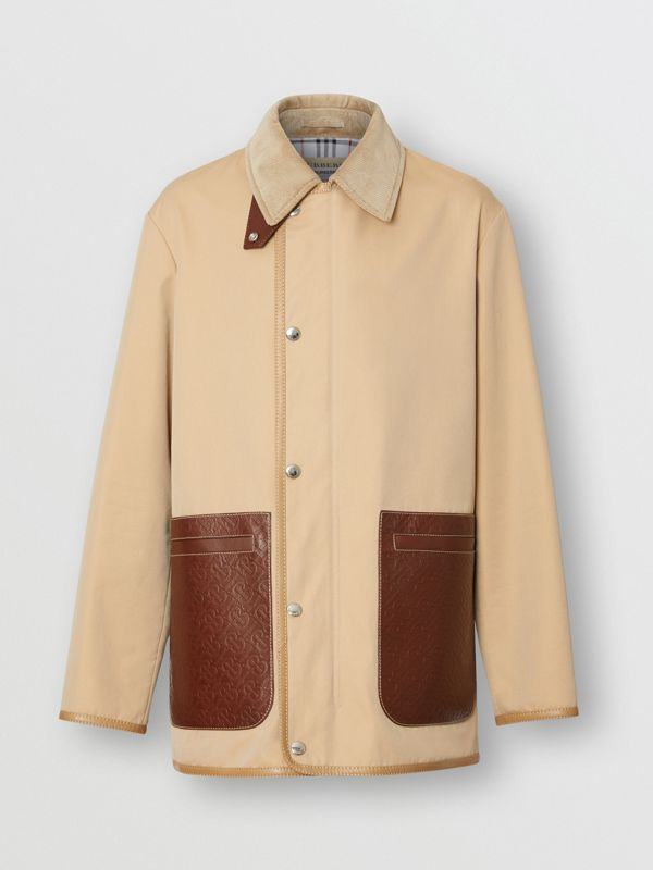 Monogram Leather Detail Cotton Gabardine Jacket in Honey | Burberry Australia - cell image 3