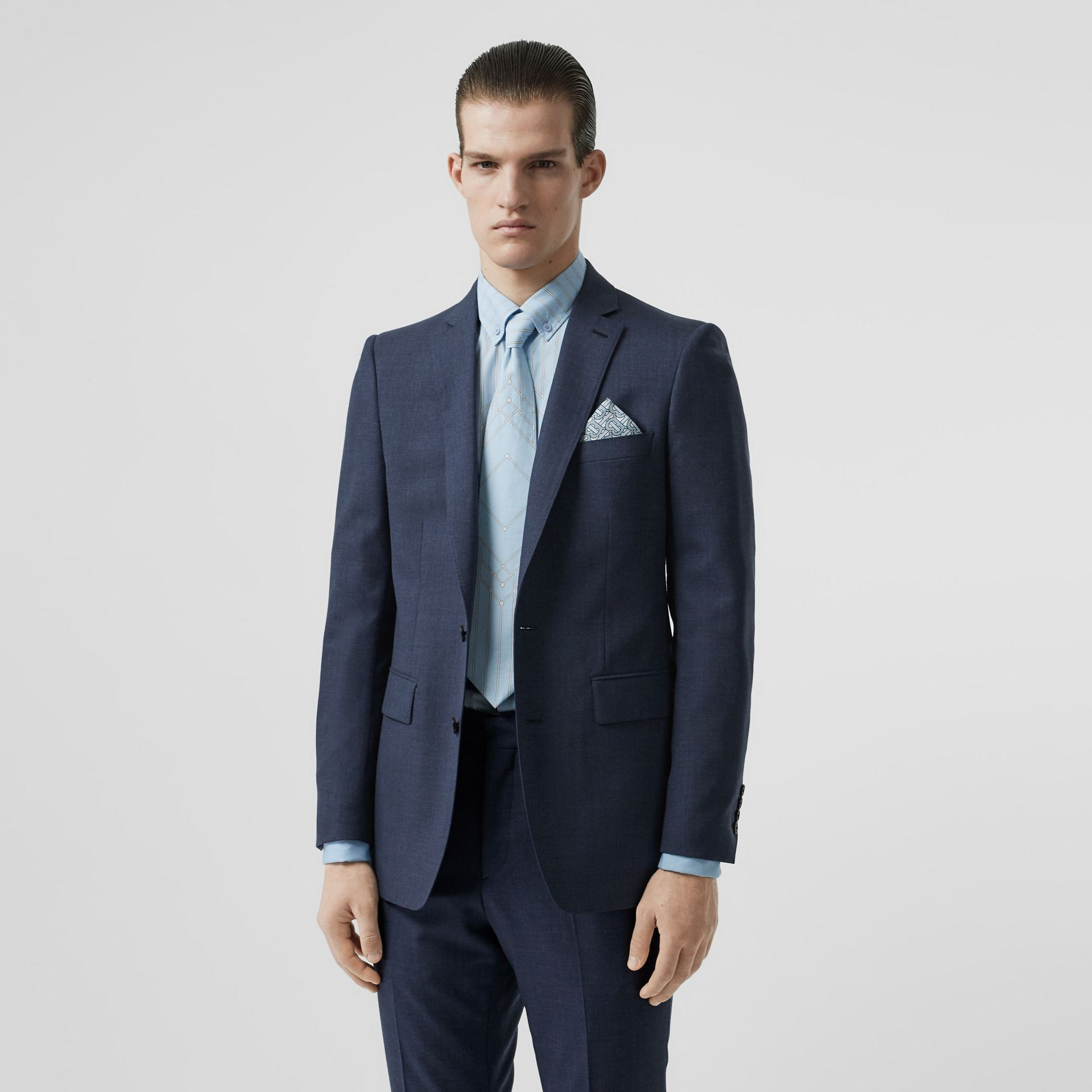 Classic Fit Wool Tailored Jacket in Steel Blue Melange - Men | Burberry United Kingdom - gallery image 5