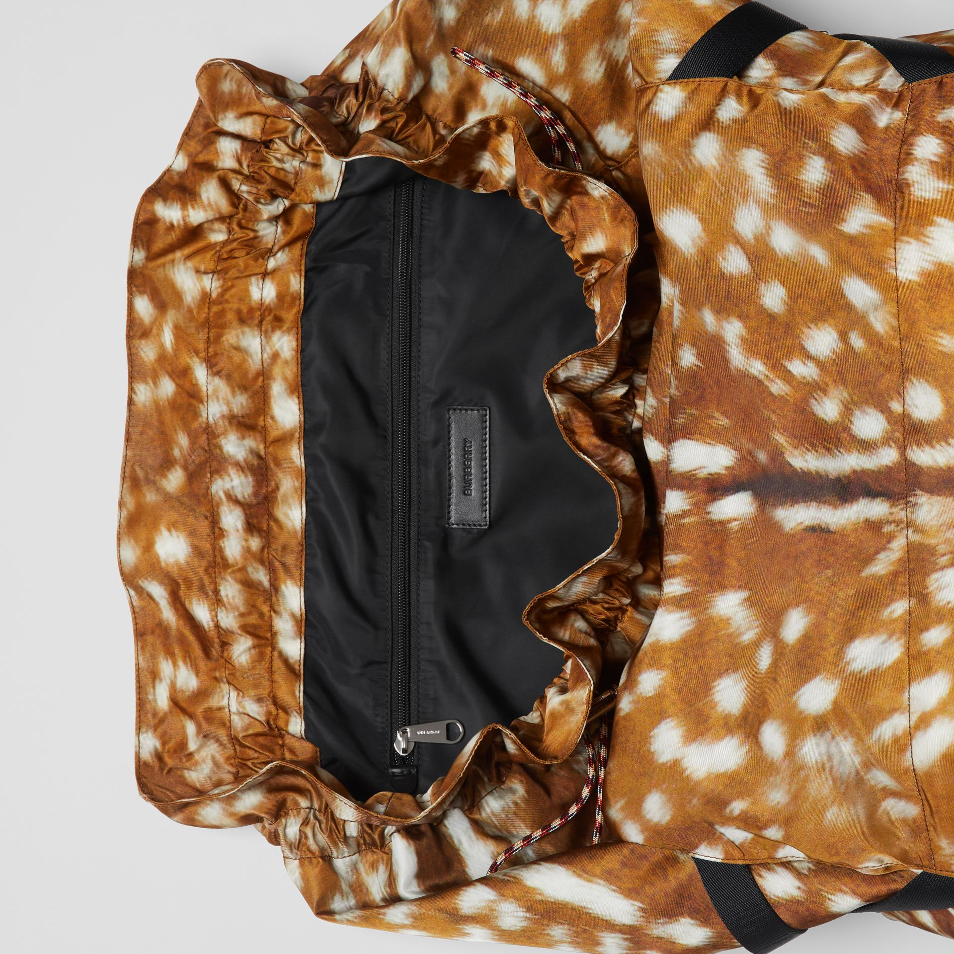 Deer Print Nylon Drawcord Backpack in Tan/white - Men | Burberry Singapore - gallery image 3