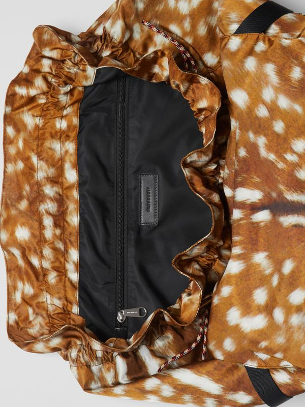 Deer Print Nylon Drawcord Backpack in Tan/white - Men | Burberry Singapore - cell image 3
