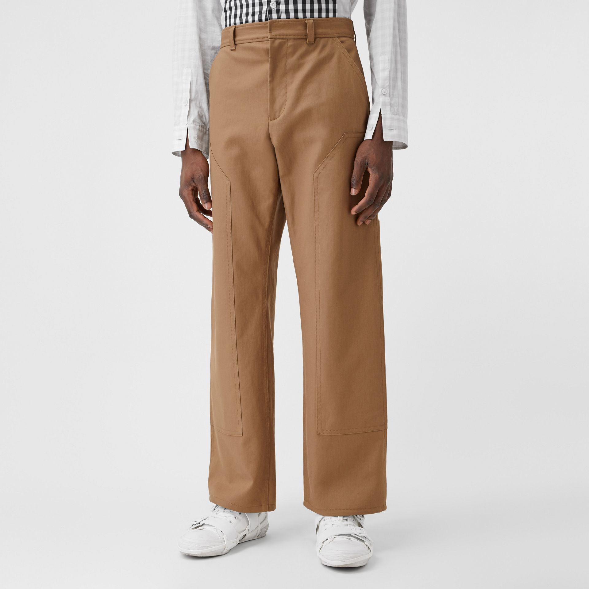 Cotton Twill Tailored Trousers in Warm Walnut | Burberry - gallery image 4
