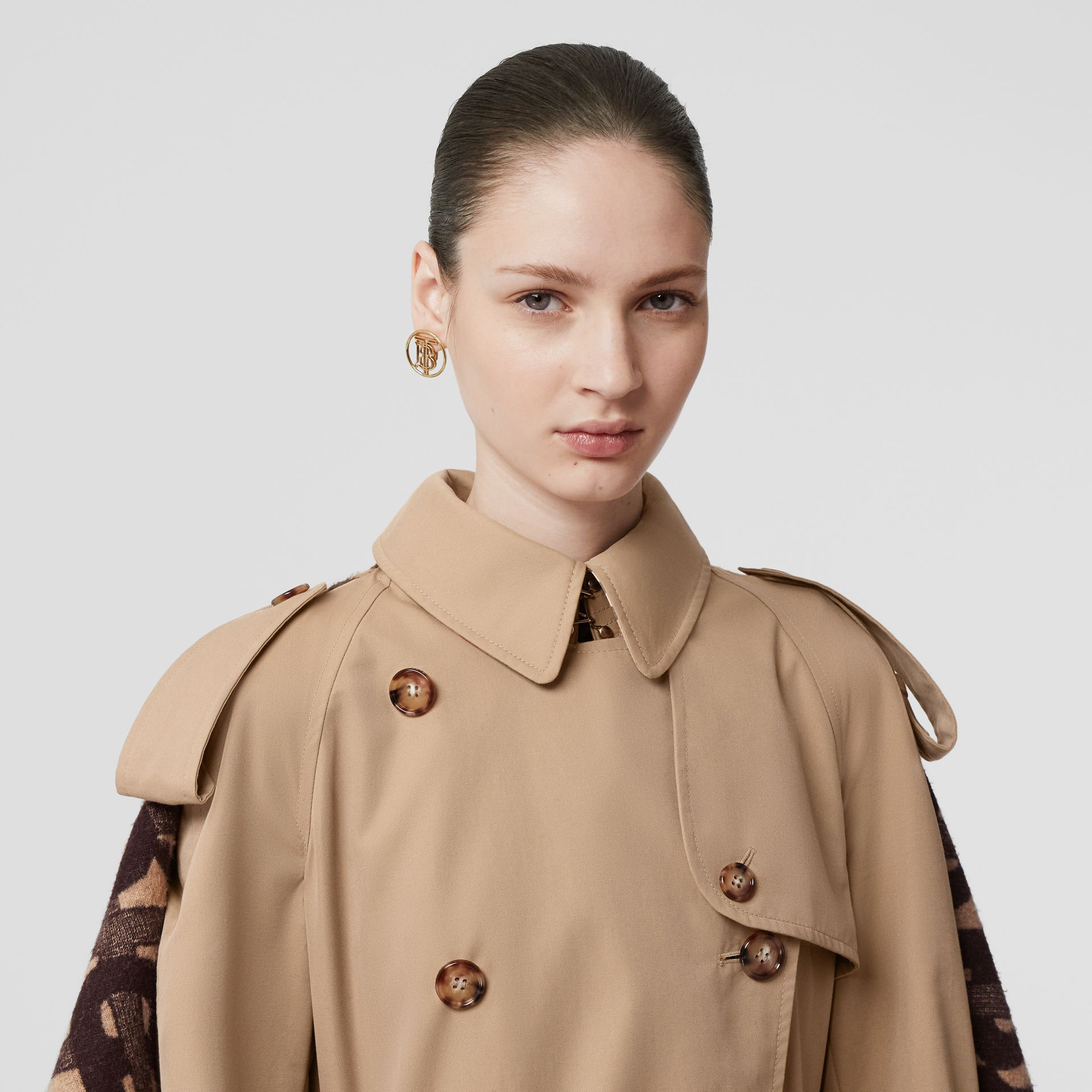 Blanket Detail Cotton Gabardine Trench Coat in Honey - Women | Burberry Australia - gallery image 8