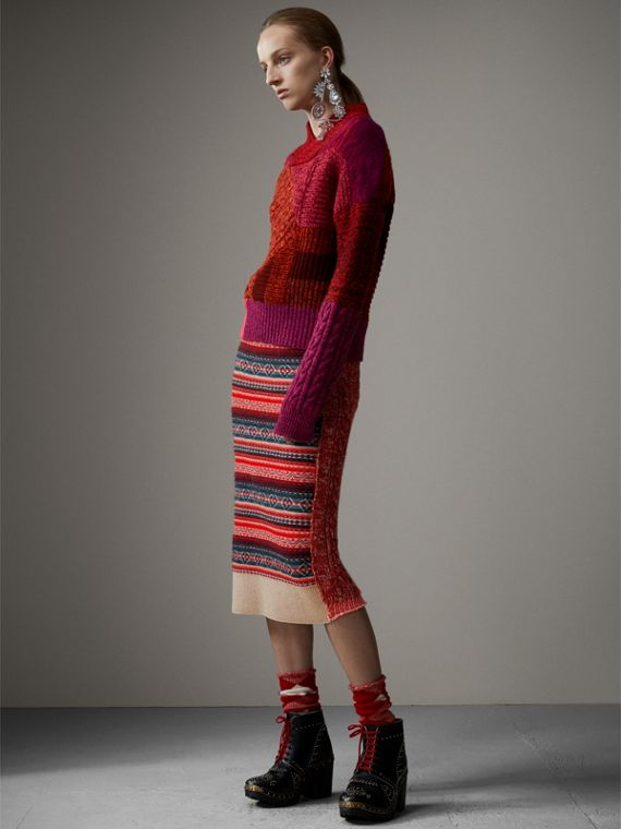 Fair Isle and Cable Knit Wool Cashmere Blend Skirt in Multicolour