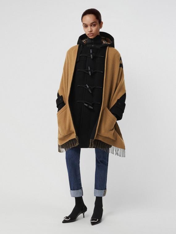 Écharpe à capuche en laine et cachemire avec logo d'archive (Noisette)