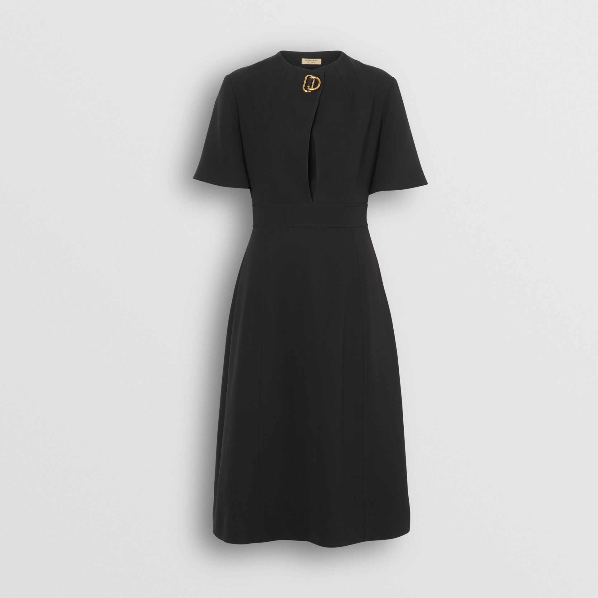 Short-sleeve D-ring Detail Silk Wool Dress in Black - Women | Burberry - gallery image 3