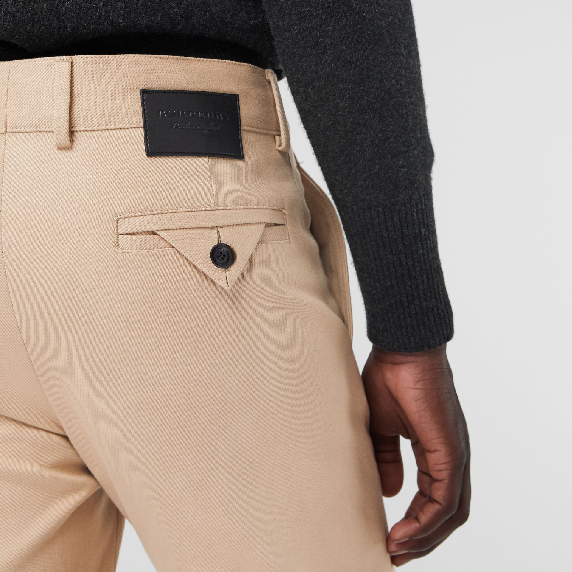 Slim Fit Cotton Blend Chinos in Stone - Men | Burberry - gallery image 1