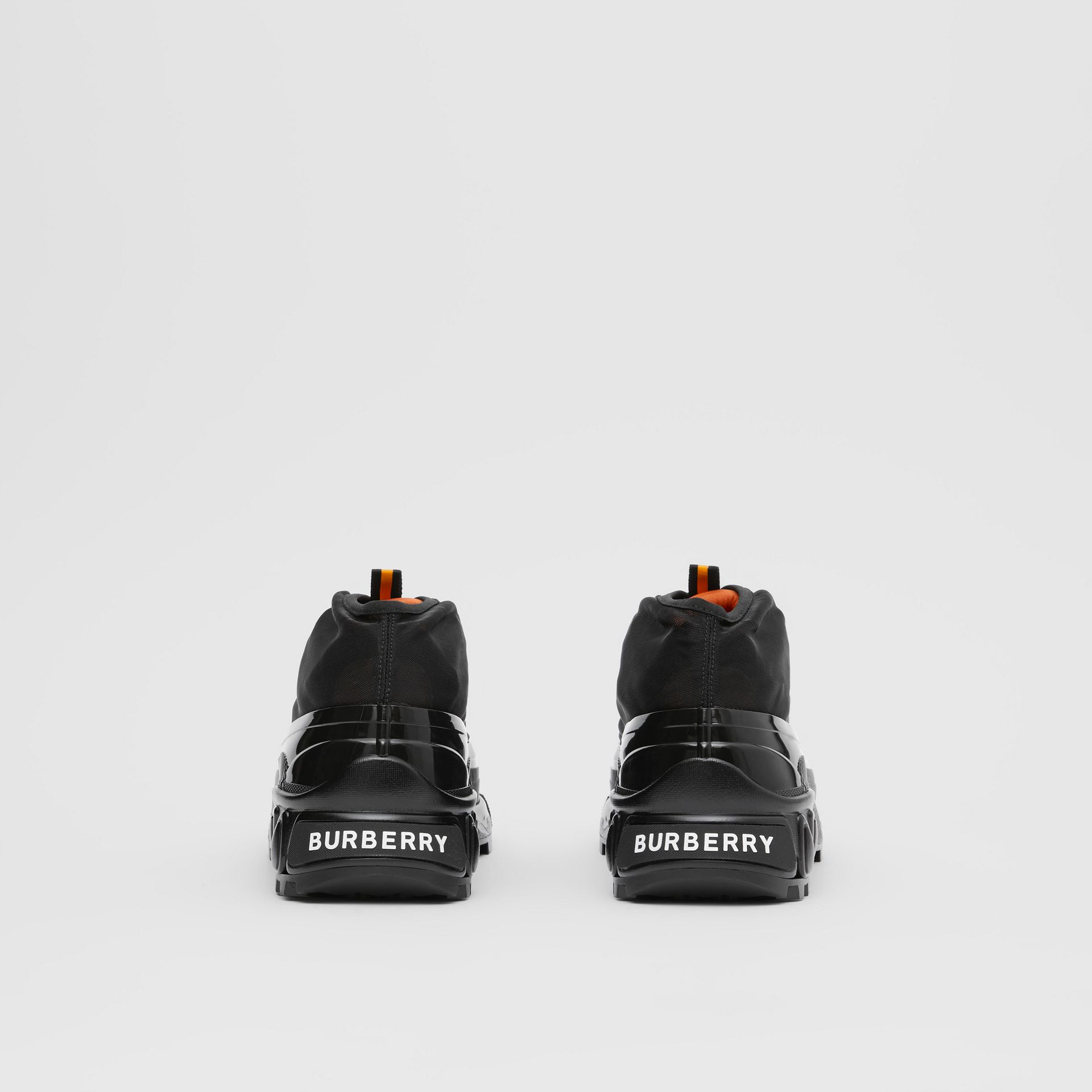 Nylon and Suede Arthur Sneakers in Black/bright Orange | Burberry Australia - gallery image 4