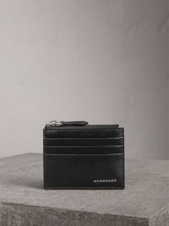 London Leather Zip-top Card Case in Black | Burberry - cell image 3