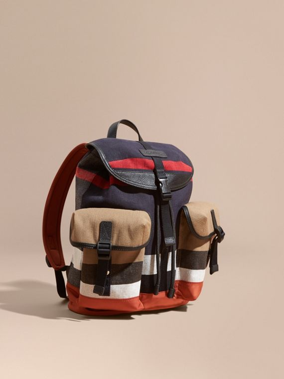 Leather Trim Canvas Check Backpack