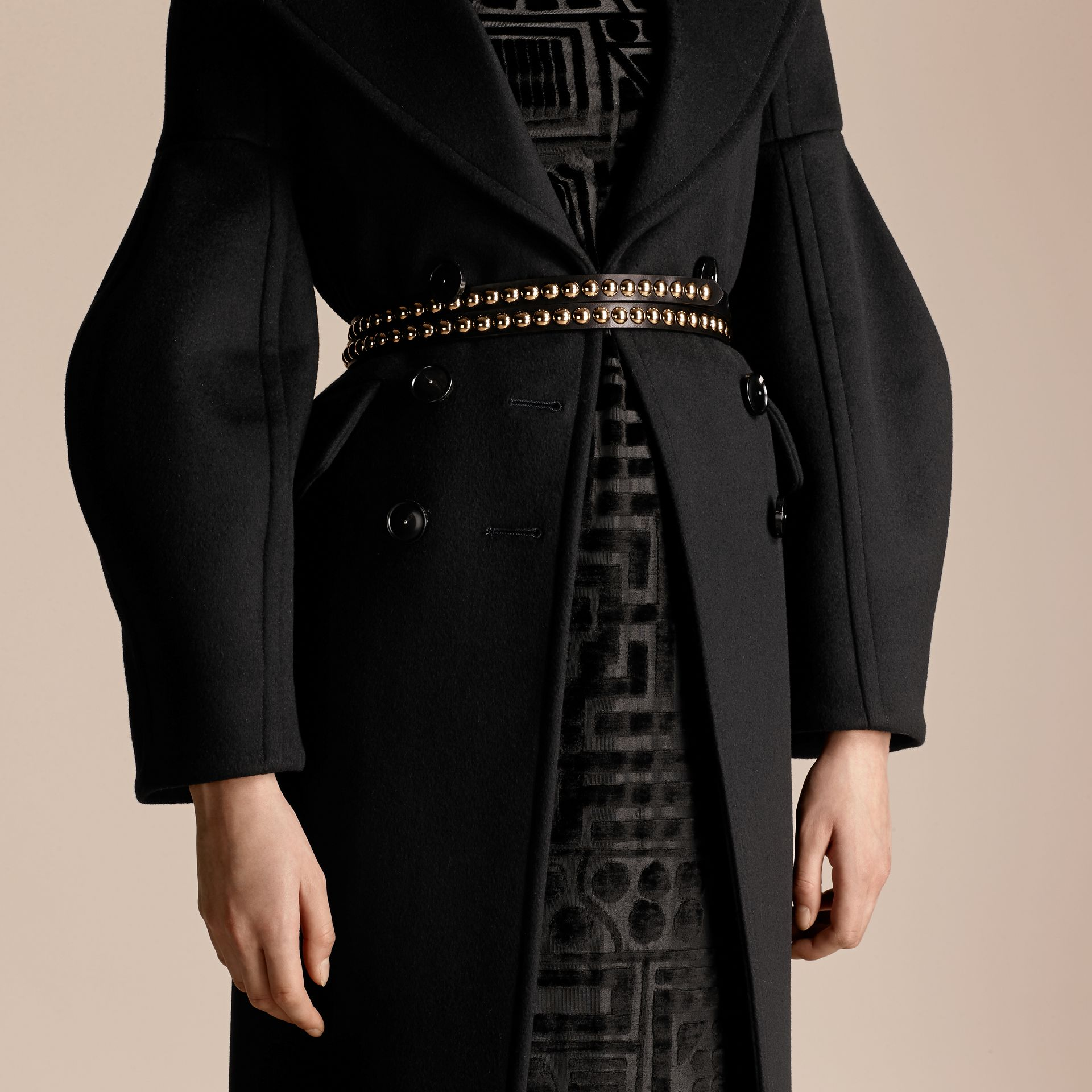Black Puff-sleeved Wool Coat - gallery image 5