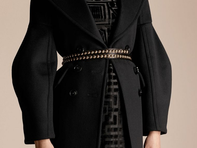 Black Puff-sleeved Wool Coat - cell image 4