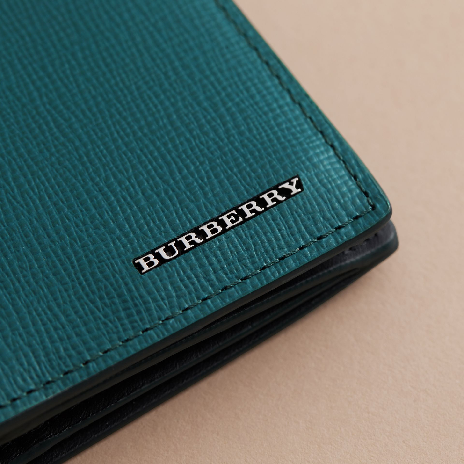 London Leather Continental Wallet in Dark Teal | Burberry Canada - gallery image 5