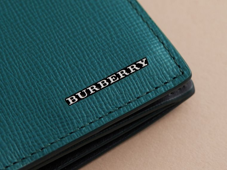 London Leather Continental Wallet in Dark Teal | Burberry - cell image 4
