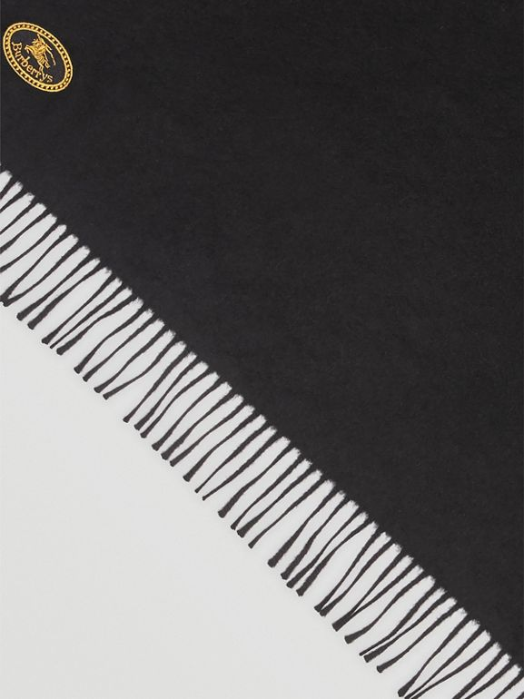 The Burberry Bandana in Embroidered Cashmere in Black | Burberry United States - cell image 1