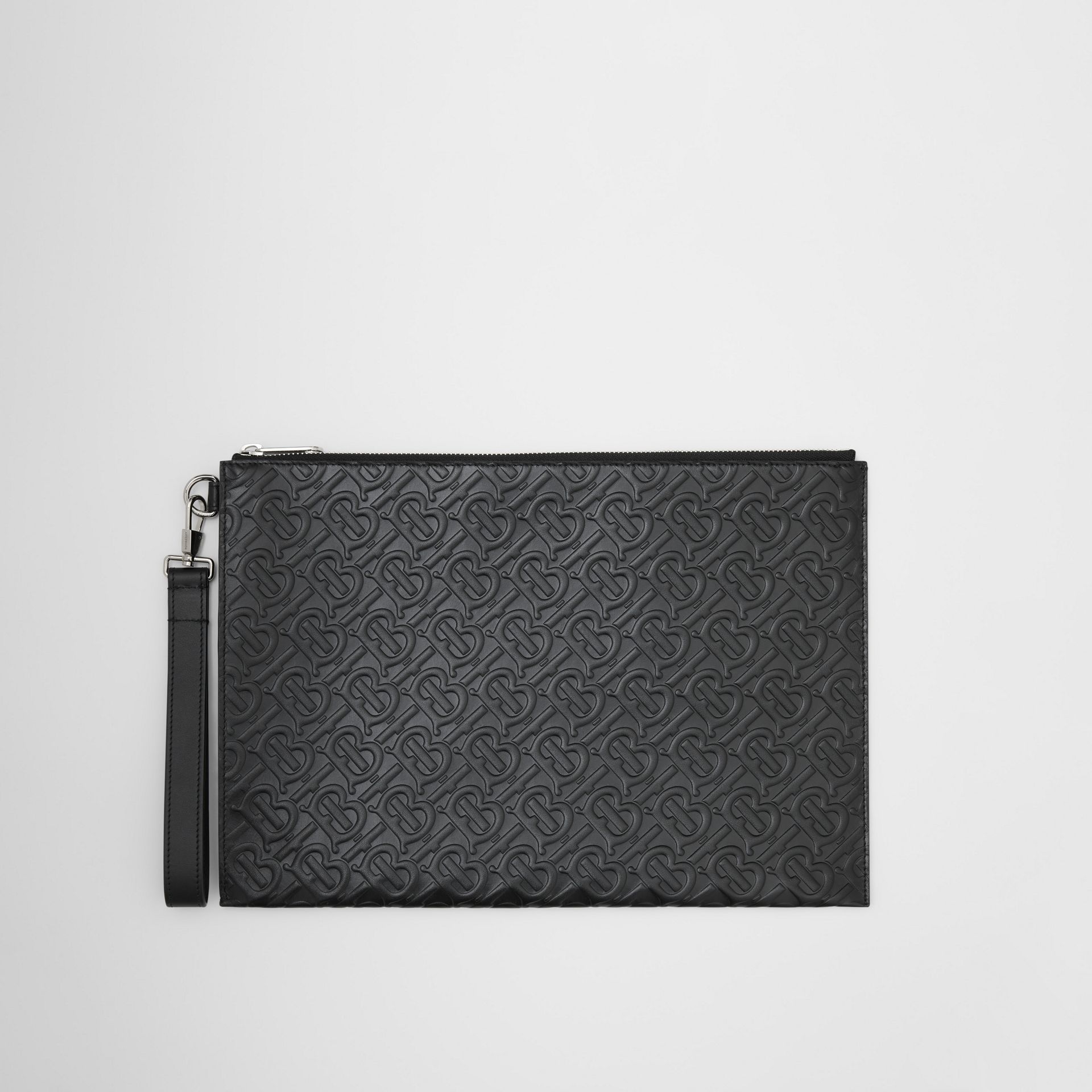 Large Monogram Leather Zip Pouch in Black | Burberry United Kingdom - gallery image 0