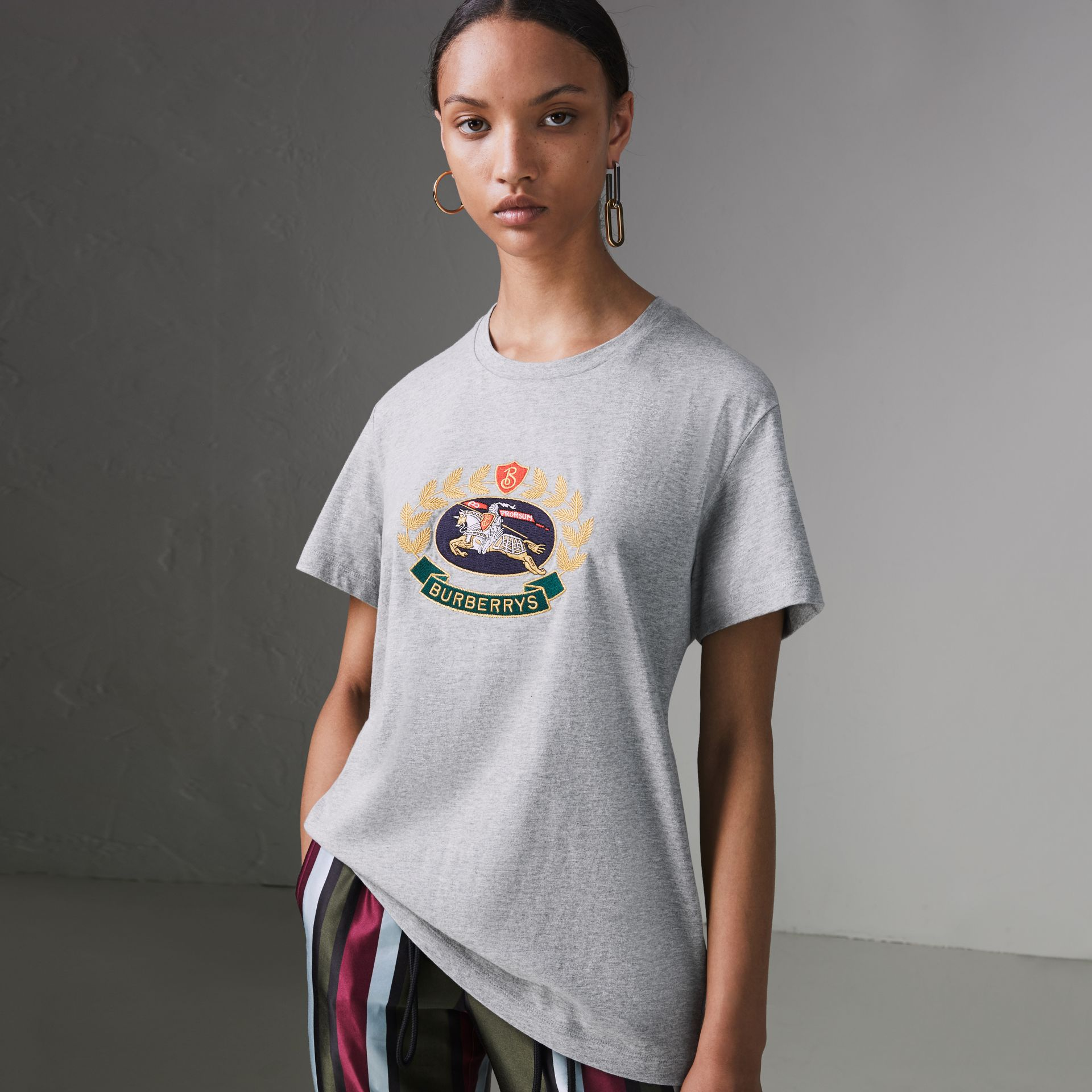 Embroidered Archive Logo Cotton T-shirt in Pale Grey Melange - Women | Burberry - gallery image 0