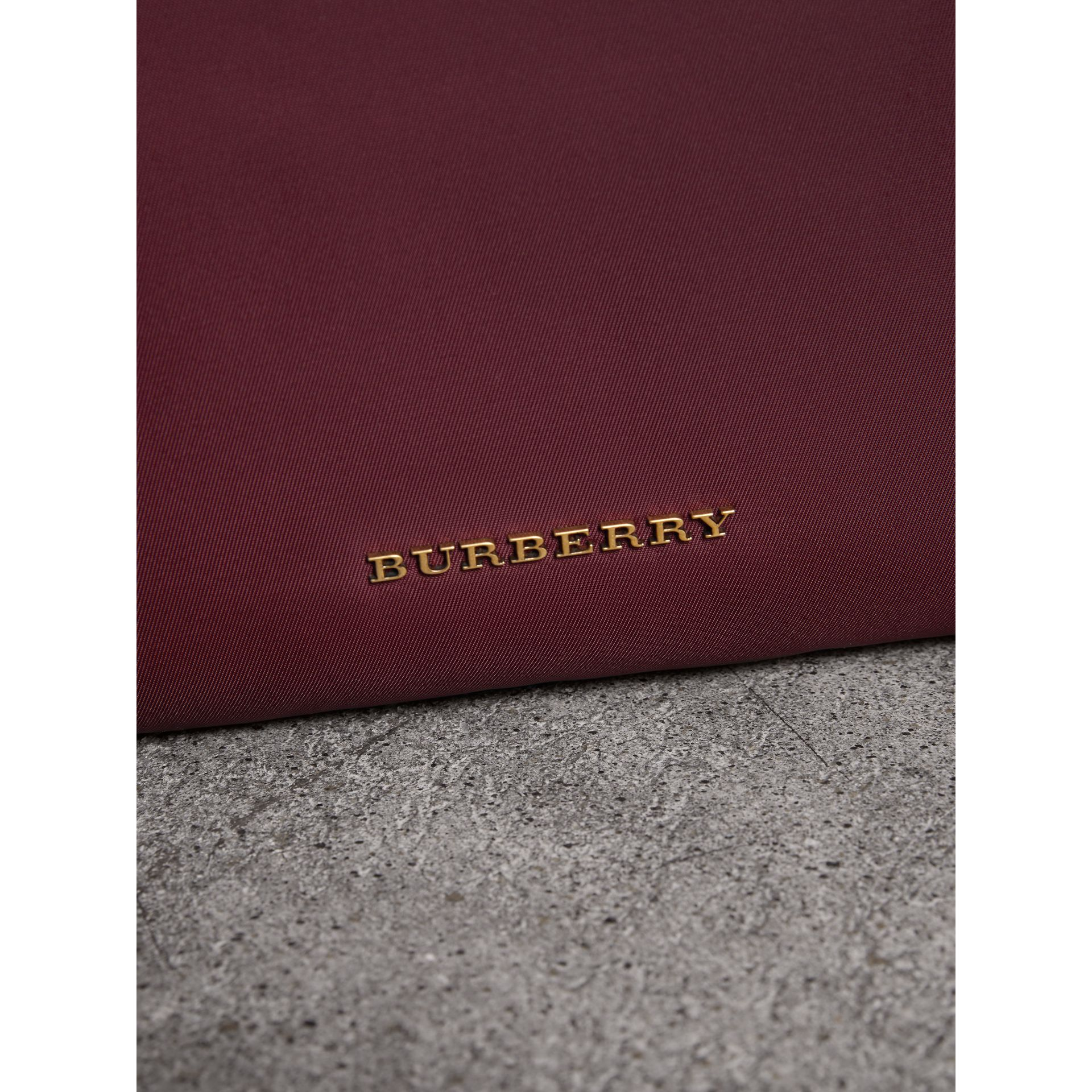 The Large Rucksack in Technical Nylon and Topstitched Leather in Burgundy Red - Men | Burberry United Kingdom - gallery image 1