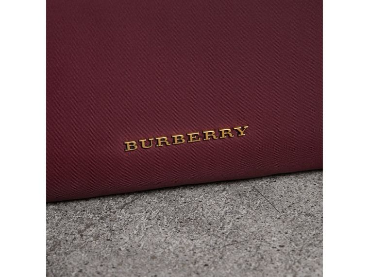 The Large Rucksack in Technical Nylon and Topstitched Leather in Burgundy Red - Men | Burberry United Kingdom - cell image 1