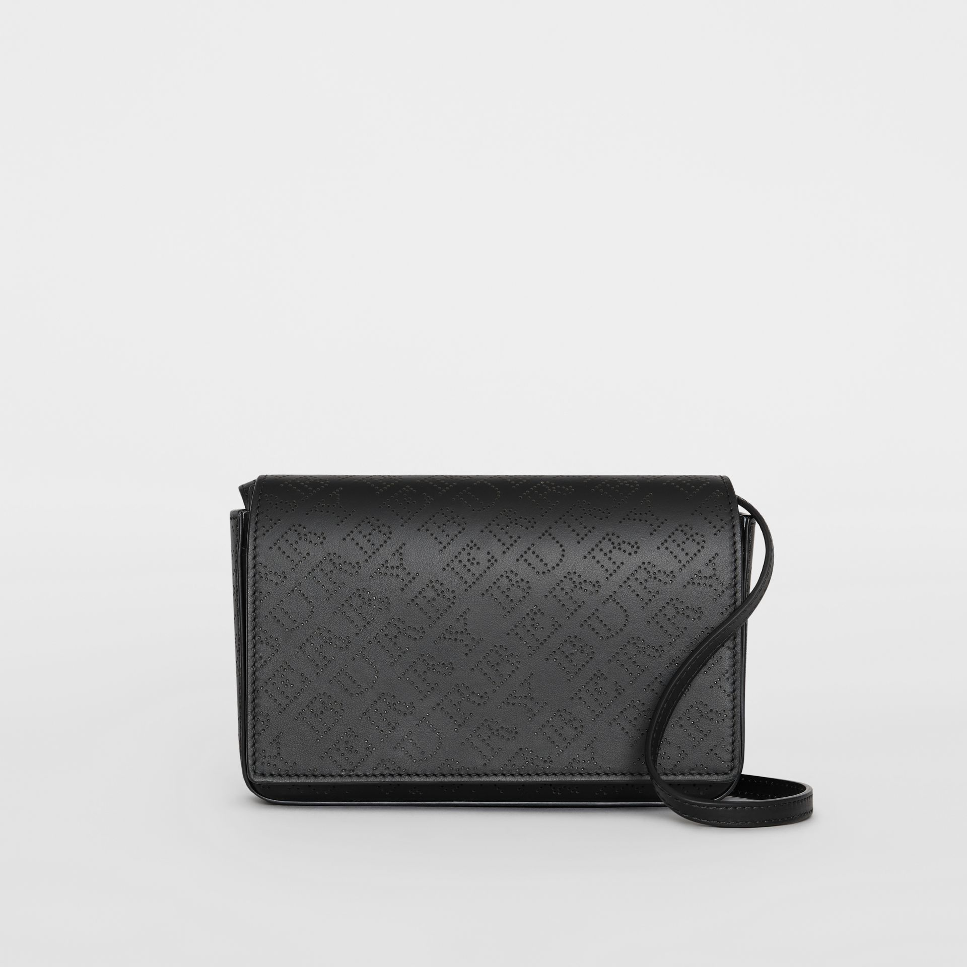 Perforated Logo Leather Wallet with Detachable Strap in Black - Women | Burberry - gallery image 0