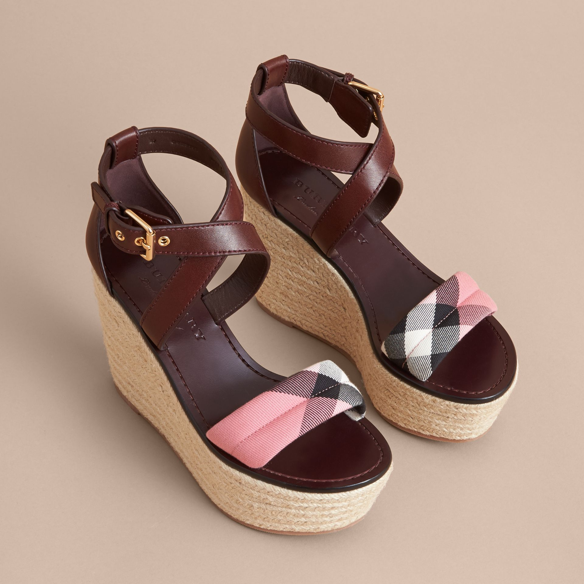 Leather and House Check Platform Espadrille Wedge Sandals Cerise Purple - gallery image 4