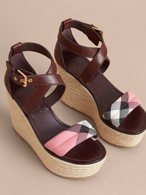 Leather and House Check Platform Espadrille Wedge Sandals in Cerise Purple - cell image 3