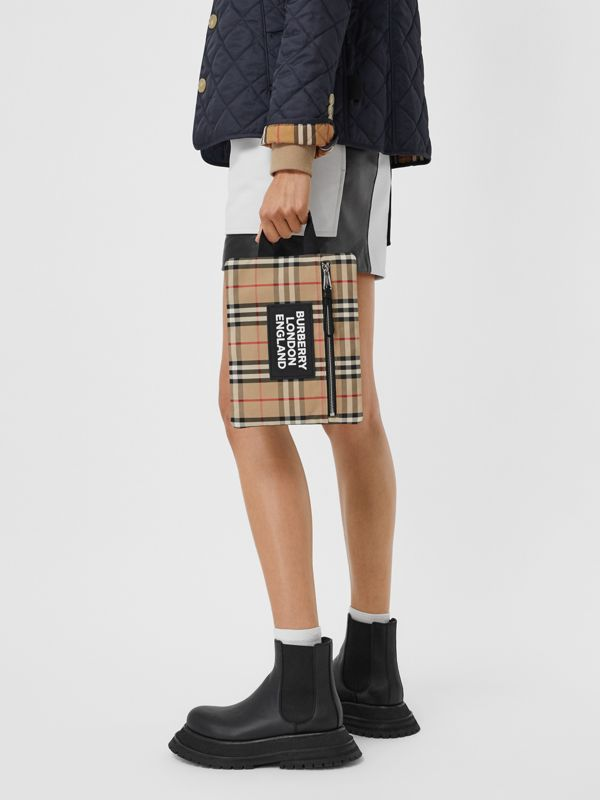Logo Detail Vintage Check Portrait Pouch in Archive Beige | Burberry Canada - cell image 2