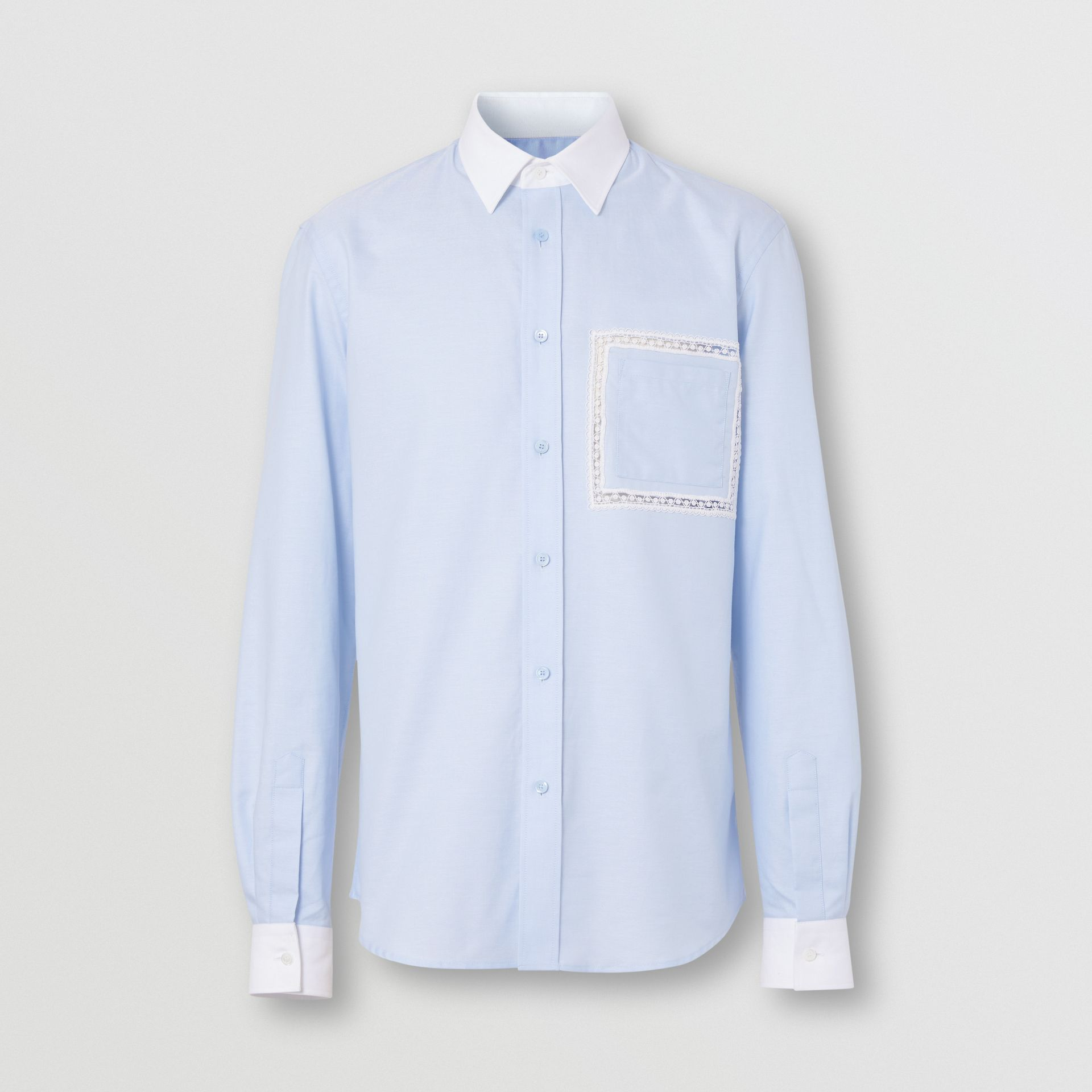Classic Fit Lace Detail Cotton Oxford Shirt in Pale Blue | Burberry - gallery image 3