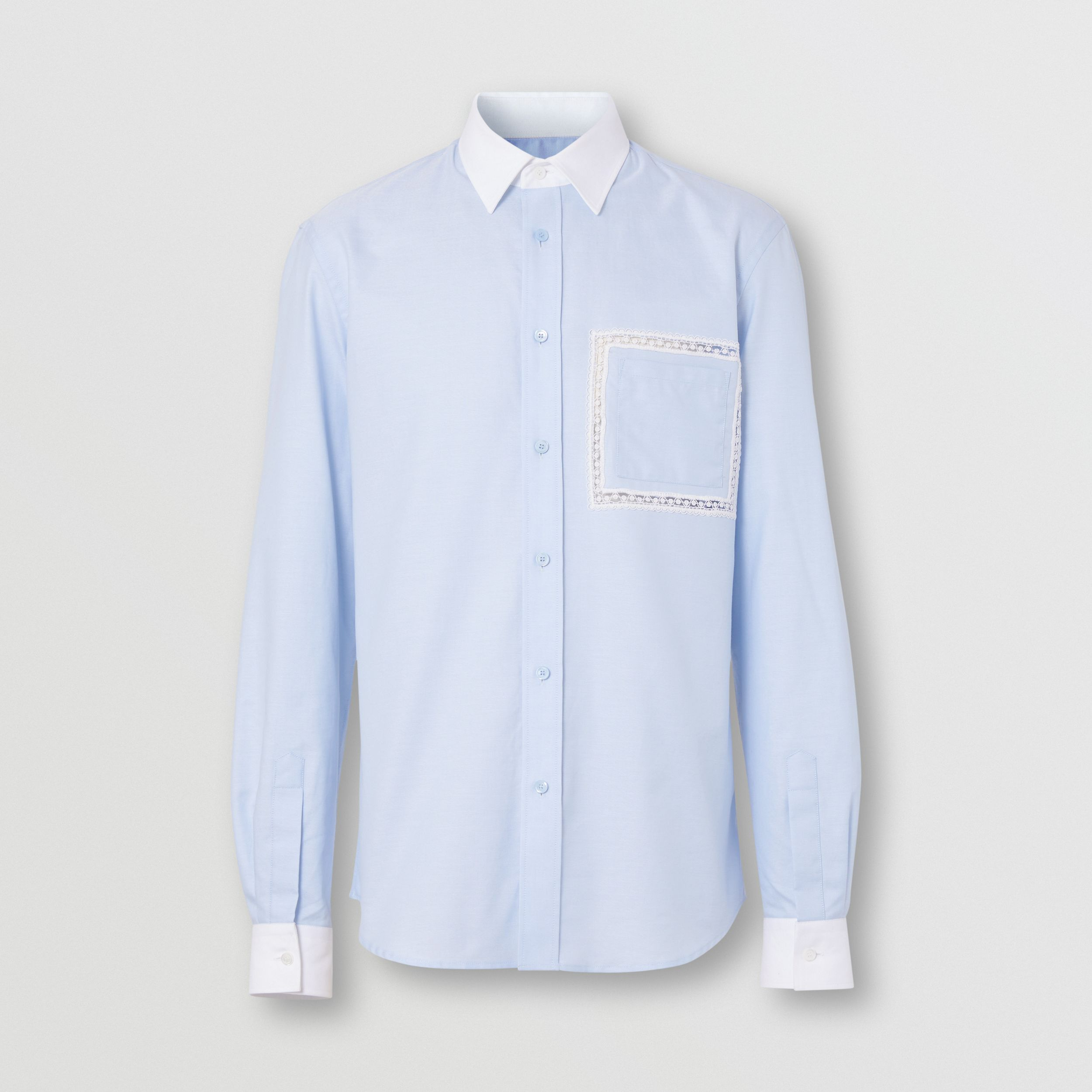 Classic Fit Lace Detail Cotton Oxford Shirt in Pale Blue - Men | Burberry - 4