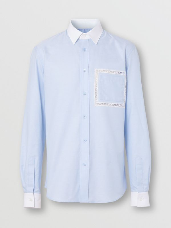 Classic Fit Lace Detail Cotton Oxford Shirt in Pale Blue | Burberry - cell image 3
