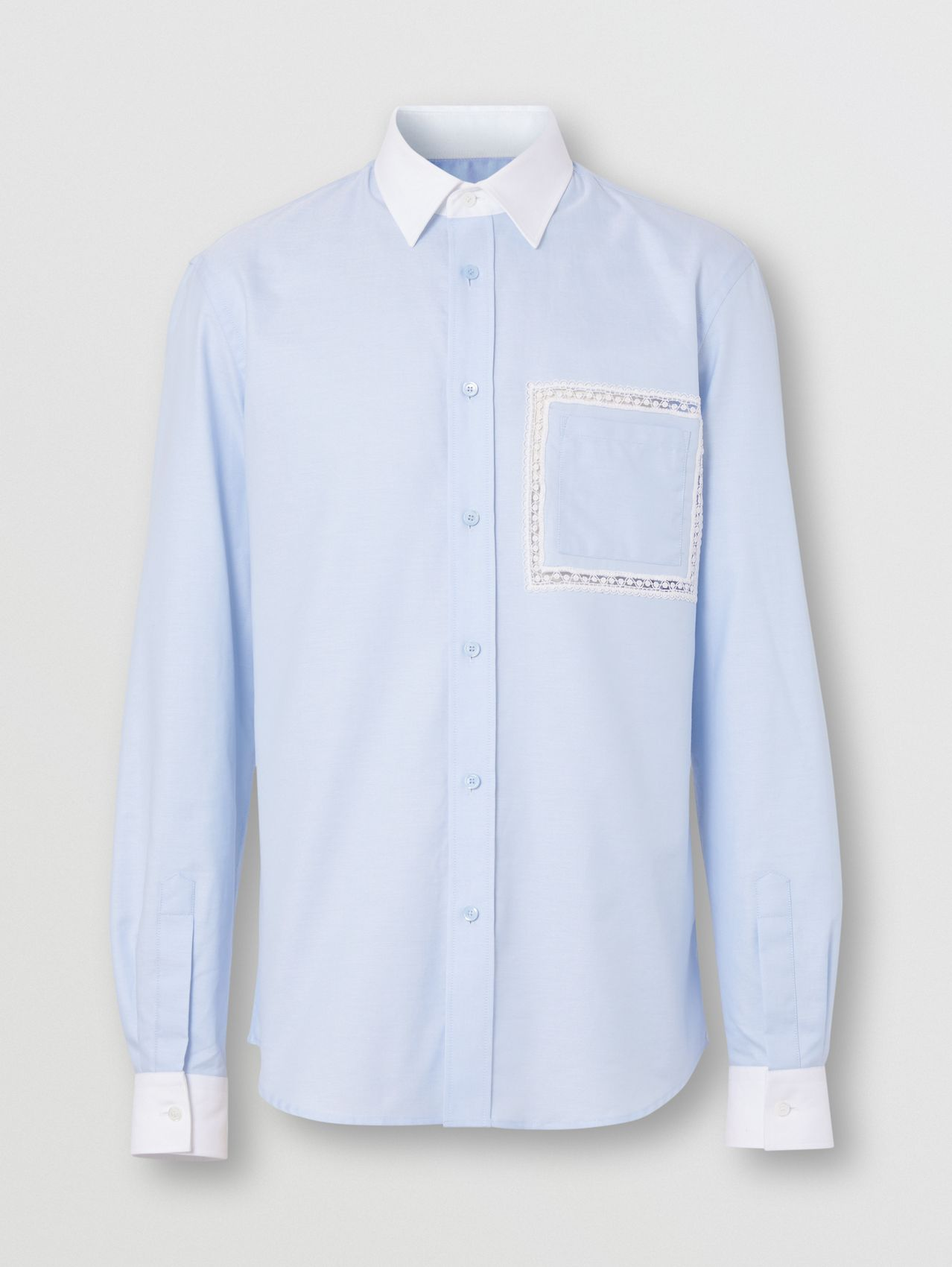 Classic Fit Lace Detail Cotton Oxford Shirt in Pale Blue