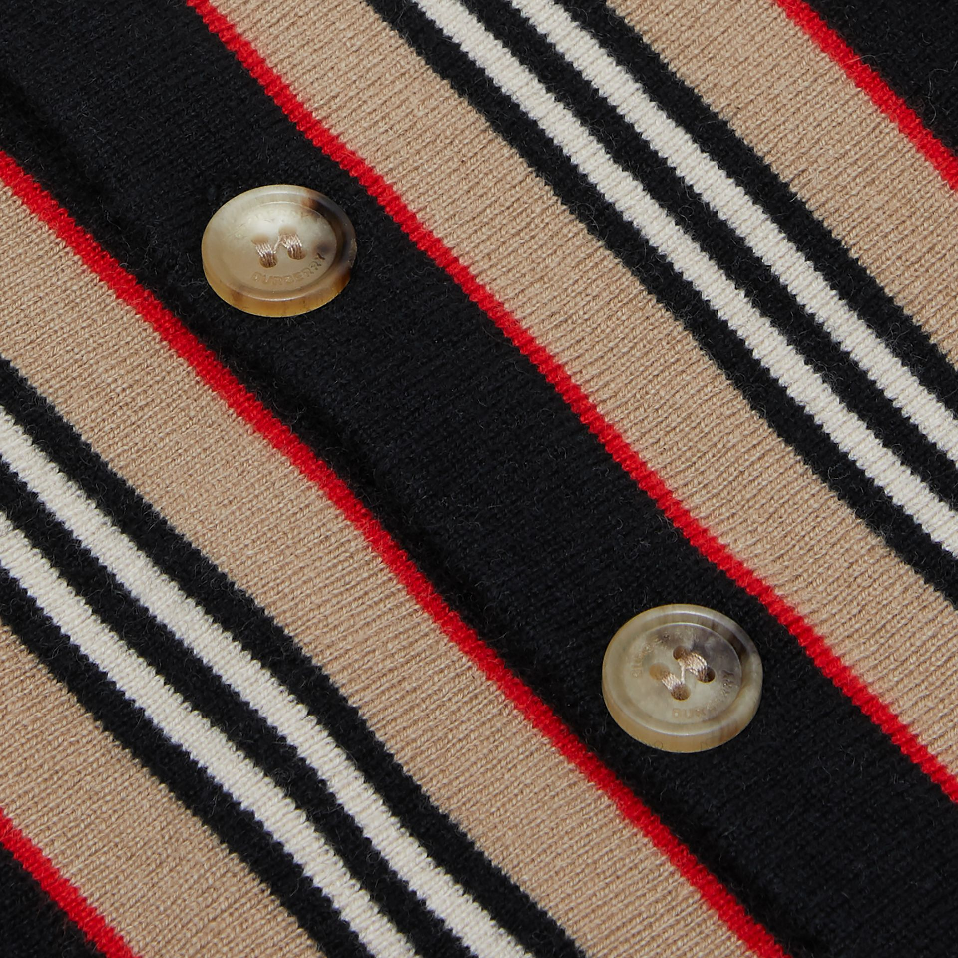 Icon Stripe Detail Wool Cashmere Cardigan in Natural White | Burberry - gallery image 1